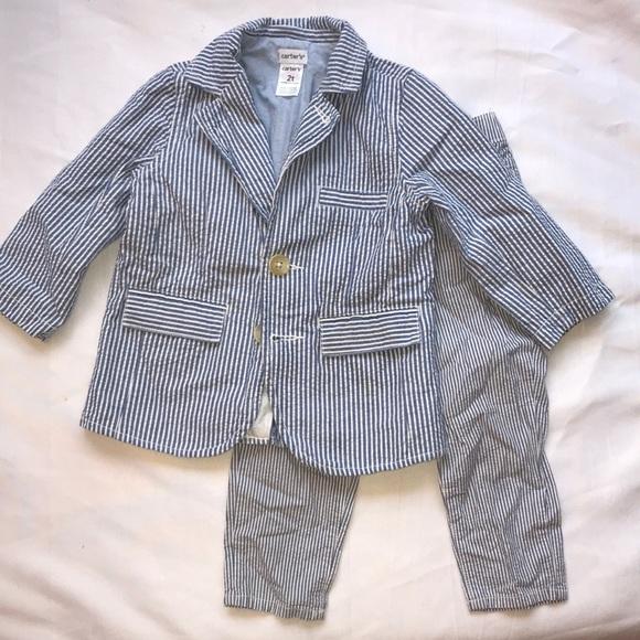 Boys Size 5 $25.00 Blue /& White Sear Sucker Vest